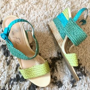 Marc Fisher Bolivia blue green woven wedges